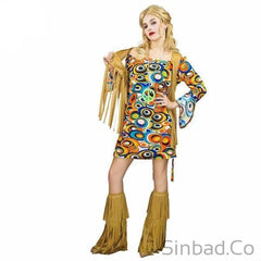 Adults Hippie Rainbow Flower 60'S Party Hippie Cosplay Costumes