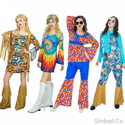 Adults Hippie Rainbow Flower 60'S Party Hippie Cosplay Costumes-Sinbadco