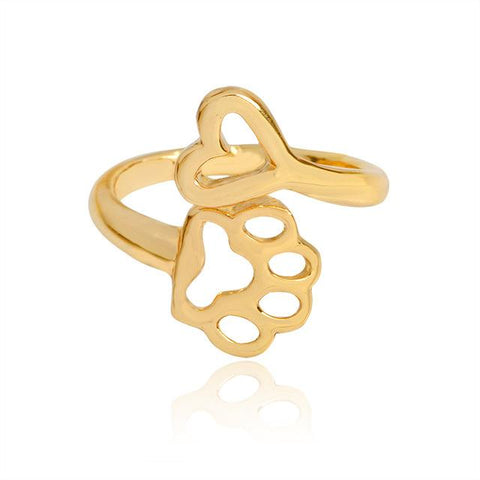 Always By My Heart Adjustable Hollow Dog Paw Ring-Sinbadco