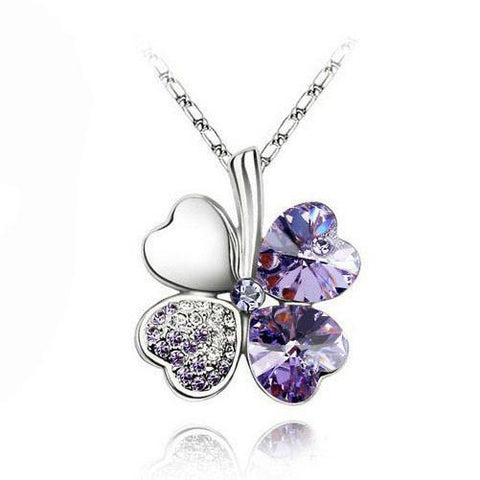 Austrian Silver Plated Crystal four Leaves Clover heart rhinestones necklace-Sinbadco