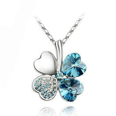 Austrian Silver Plated Crystal four Leaves Clover heart rhinestones necklace