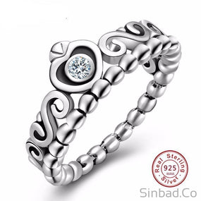 Authentic Thai 925 Sterling-Silver Princess Ring-Rings-Sinbadco