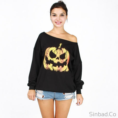 Autumn And Winter Casual Long Sleeve T Shirt Off The Shoulder-Blouse-Sinbadco