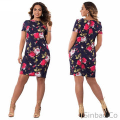 Autumn Floral Print Women Dress Plus Size 5Xl 6Xl