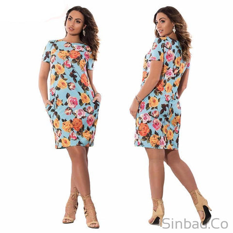 Autumn Floral Print Women Dress Plus Size 5Xl 6Xl-Sinbadco