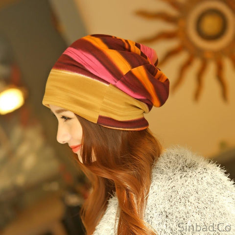 Autumn Themed Striped Head Scarf-Sinbadco