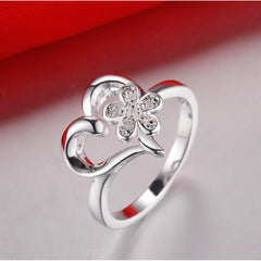 Beautiful love heart flower 925 jewelry silver plated ring size 6 7 8 9