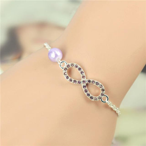 Best Bridesmaid Gift Infinity New Heart Rhinestone Imitation Pearl Silver Plated Bracelet-Sinbadco