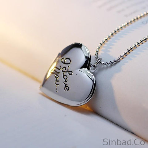 Best Friend I love you Letter Photo Frame Necklace-Sinbadco