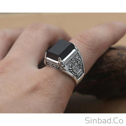 Black Stone Marcasite Punk S925 Thai Silver Ring-Rings-Sinbadco