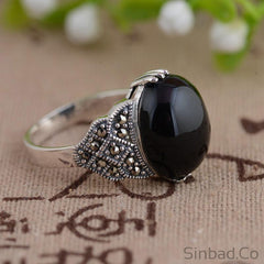 Black Stone Marcasite Thai Silver Ring
