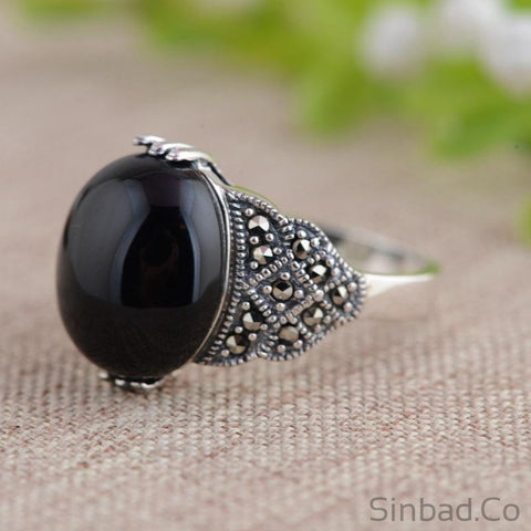 Black Stone Marcasite Thai Silver Ring-Rings-Sinbadco