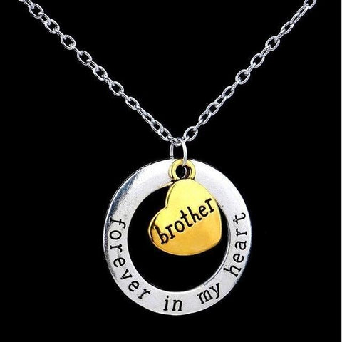 Brother or Sister letter necklace-Sinbadco