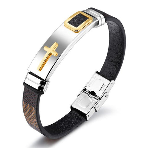 Brown & Black PU Leather Retro Cross Charm Bracelet-Sinbadco