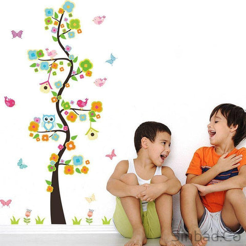 CARTOON TREE WALL STICKERS WITH ANIMAL DESIGN FOR CHILDREN-Stickers-Sinbadco