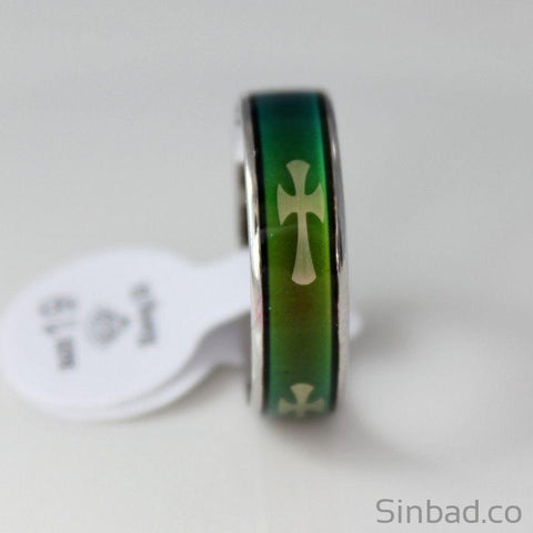 Christian Cross Mood Tracker Ring-Rings-Sinbadco