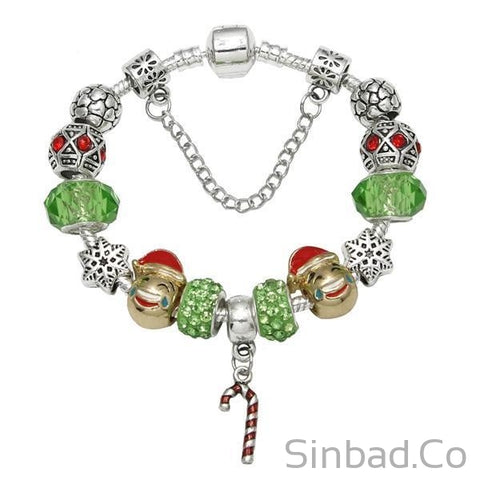 Christmas Silver Charm Bracelet Gift for Girls-Sinbadco