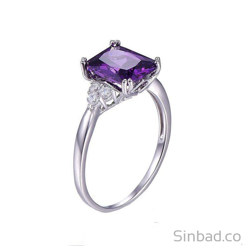 Classic 5.25Ct Amethyst Silver Ring-Rings-Sinbadco