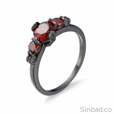 Classic Round July Red Zircon Birthstone Ring-Rings-Sinbadco