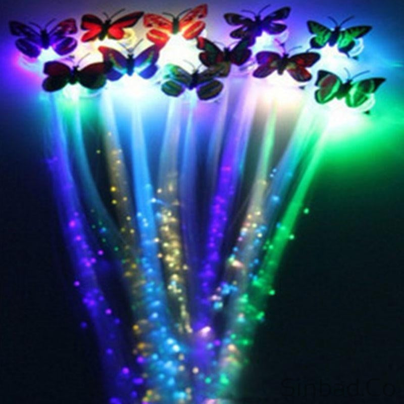 Colorful Butterfly Glow Hair Braid Extensions Sinbadco