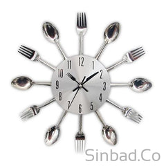 Colorful Knife Fork Spoon Kitchen Clock