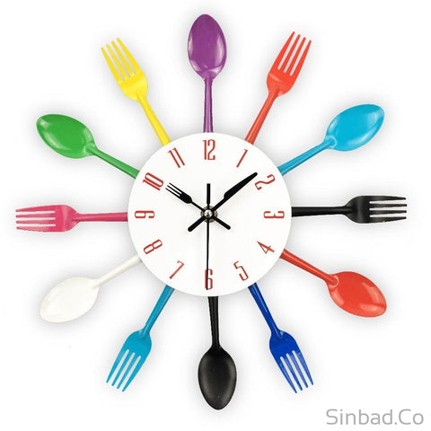 Colorful Knife Fork Spoon Kitchen Clock-Sinbadco
