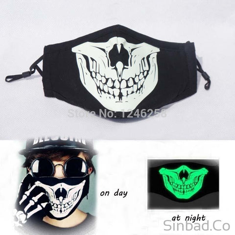Cotton Black Anti Dust Led Skull Mask With Grimace Pattern For Party-Sinbadco
