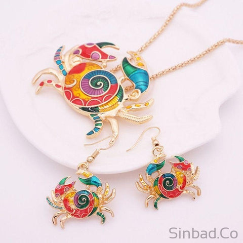 Crab And Turtle Jewelry Set-Jewelry Sets-Sinbadco
