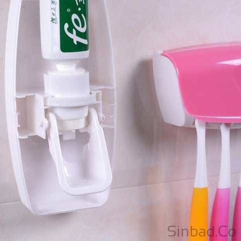 Creative Automatic Lazy Toothpaste Dispenser & Toothbrush Holder-Sinbadco