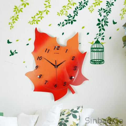 Creative Maple Leaf Wall Clock-Sinbadco