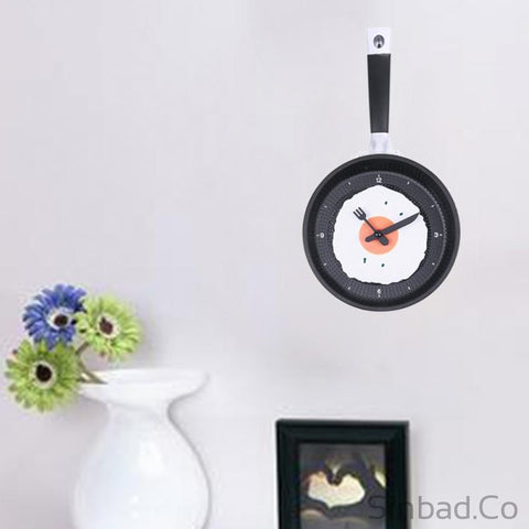 Creative Omelette Fry Pan MINI Design Kitchen Clock 3 Colors-Sinbadco