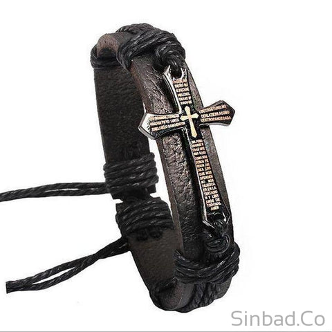 Cross Leather Bracelet-Bracelets-Sinbadco