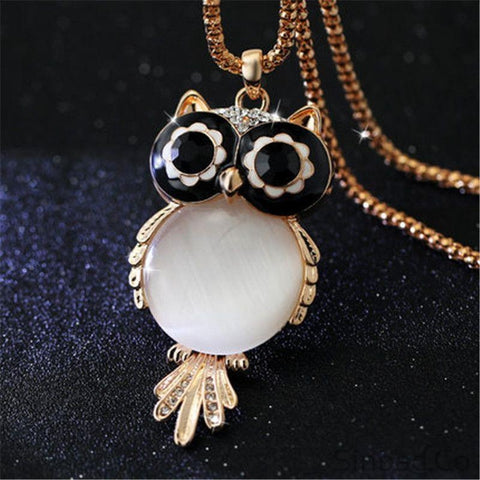 Crystal Owl Bohemian Rhinestone Long Necklace-Necklaces-Sinbadco
