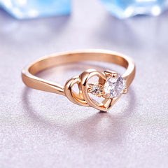 Cubic Zirconia Rose Gold Color Wedding Austrian Crystal Ring