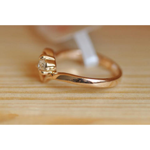 Cubic Zirconia Rose Gold Color Wedding Austrian Crystal Ring-Sinbadco