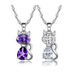 Cute 1.8 Carat Austrian Cubic Zirconia Cat Necklace-Sinbadco
