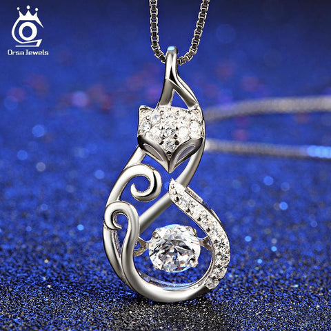 Cute 925 Silver Fox Pendant Necklace Movable Charm Cubic Zirconia-Sinbadco