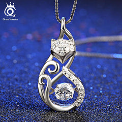 Cute 925 Silver Fox Pendant Necklace Movable Charm Cubic Zirconia