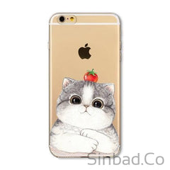 CUTE KITTEN SOFT TPU SILICON TRANSPARENT IPHONE CASES