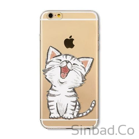 CUTE KITTEN SOFT TPU SILICON TRANSPARENT IPHONE CASES-Sinbadco