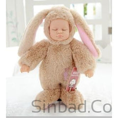 Cute Reborn Rabbit Silicone Baby Sleeping Plush Doll