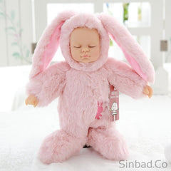 Cute Reborn Rabbit Silicone Baby Sleeping Plush Doll-Sinbadco