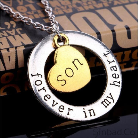 Dad Son Mom Love Forever Heart Necklace Pendant-Sinbadco