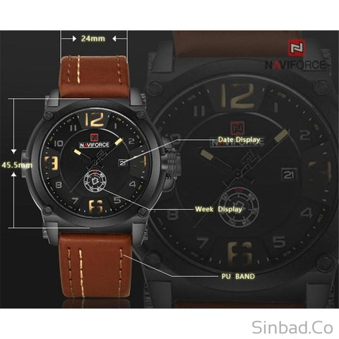 Darkness Leather Strap Waterproof Watch-Sinbadco