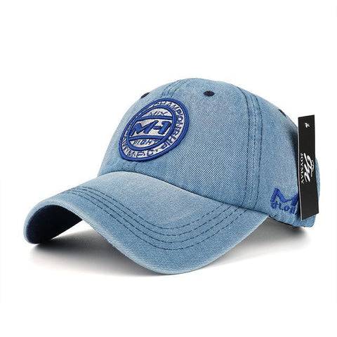 Denim baseball 5 color badge embroidery hat-Sinbadco