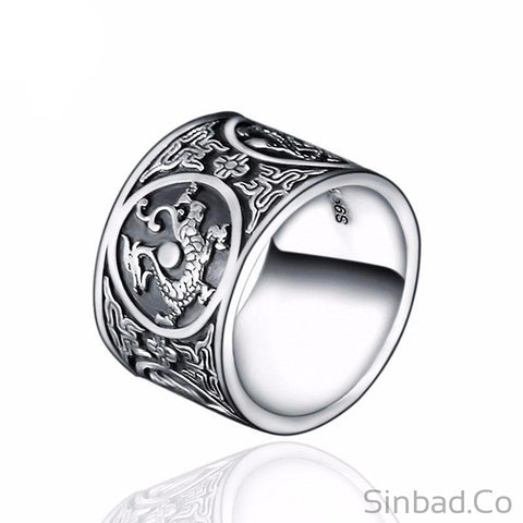 Dragon Punk Thai Silver Ring-Rings-Sinbadco