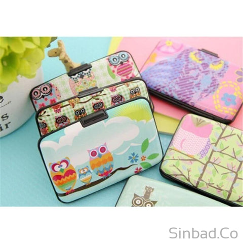 DURABLE ALUMINIUM POCKET CARD WALLET WITH OWL DESIGN-wallet-Sinbadco