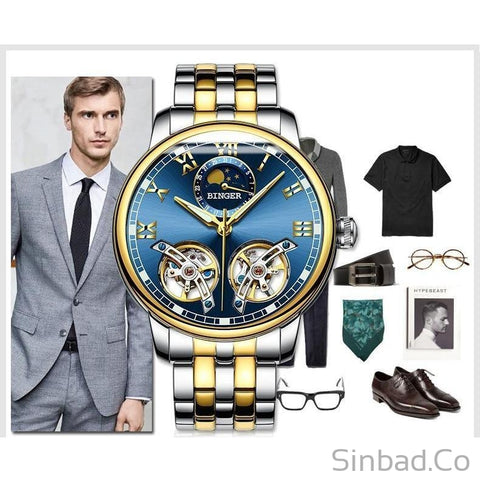Elegant Skeleton Mens Watch-WATCHES-Sinbadco