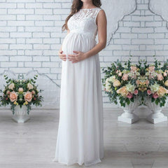 Elegant Vintage Pregnant Women Lace Long Maxi Dress