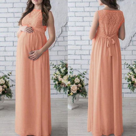 Elegant Vintage Pregnant Women Lace Long Maxi Dress-Sinbadco